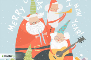 دانلود وکتور موزیکال Funny Santa Clauses playing musical instruments. V